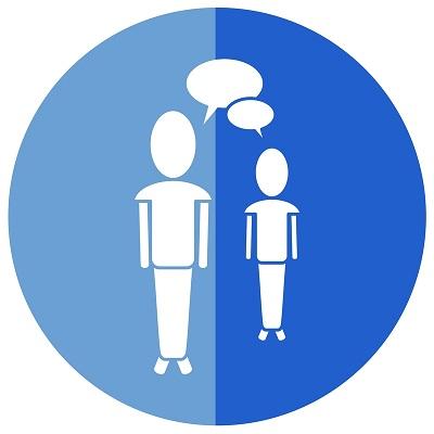 二人の人物が会話しているイラスト