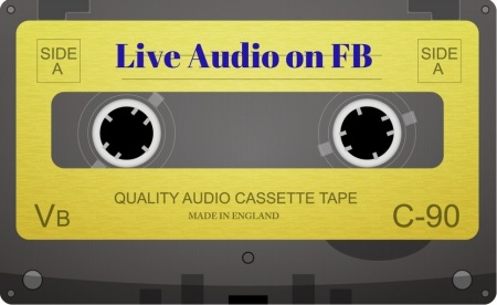 カセットテープのイラスト、 Live Audio on FB のタイトル文字入り。