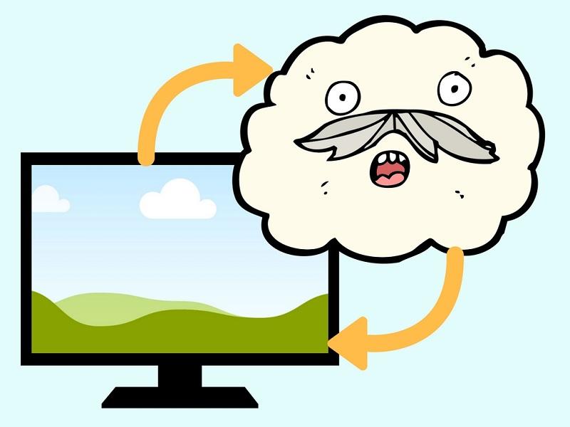 パソコンモニターと雲のイラスト