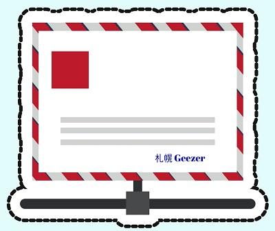 航空便の封筒のイラスト