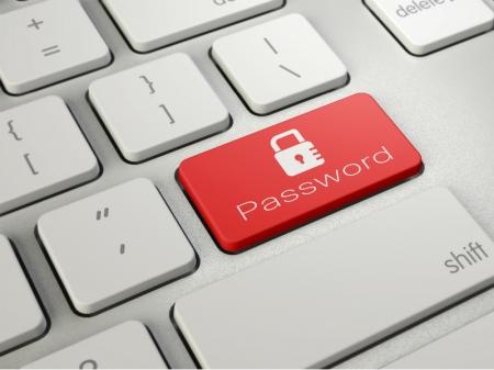 キーボードの写真。キーのひとつにパスワードの表示