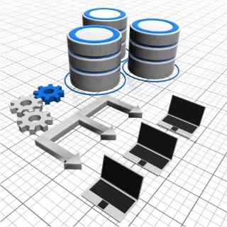 データベースとノートパソコン