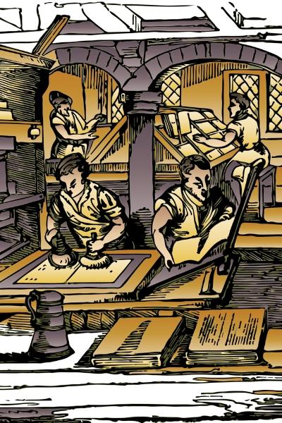 昔の出版現場のイラスト