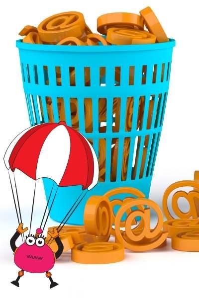 ゴミ箱に@、botのイラスト