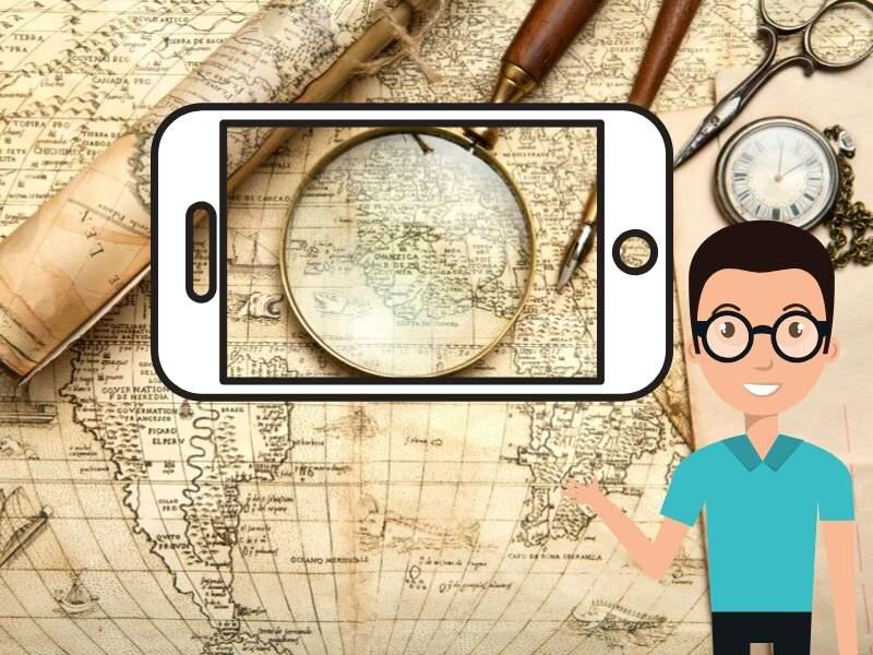 古い地図にスマホと男性のイラスト